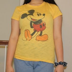 Yellow Mickey Mouse Disney TShirt | Size Large